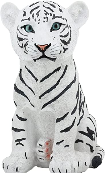 Ebros Large 10 Tall Rumba The Siberian White Tiger Cub Statue Alaskan White Striped Bengal Tiger Baby Decorative Resin Figurine