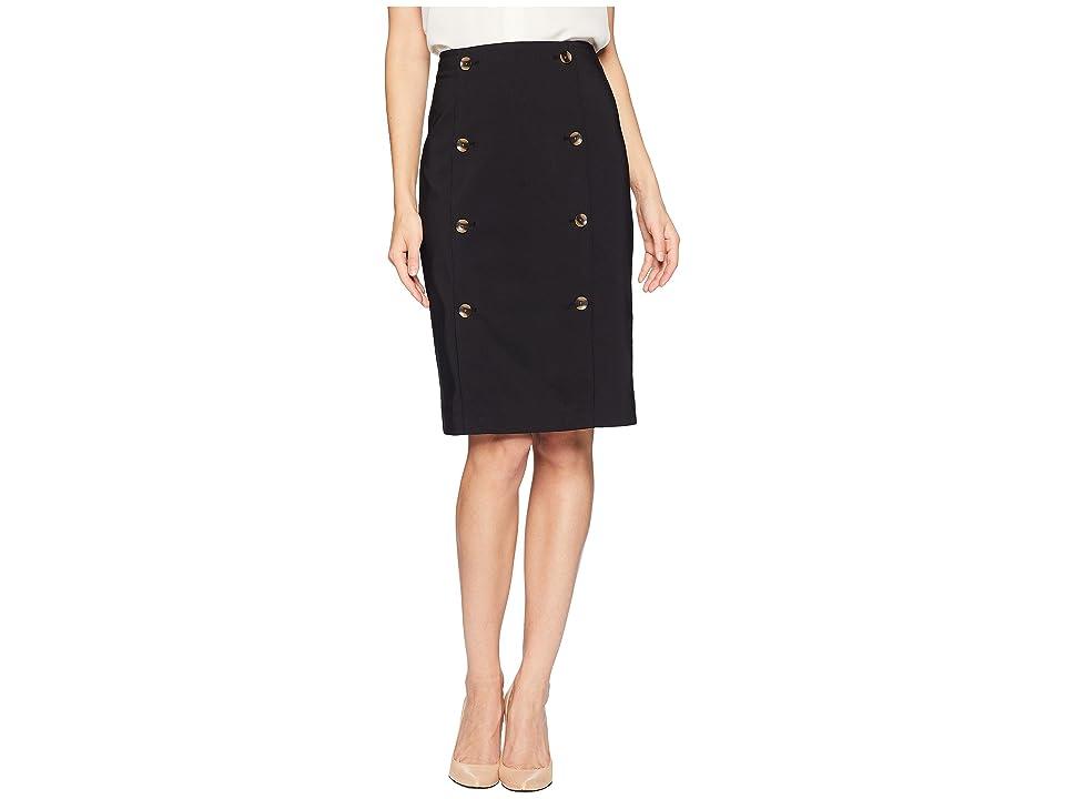 Calvin Klein Pencil Skirt w/ Buttons (Black) Women