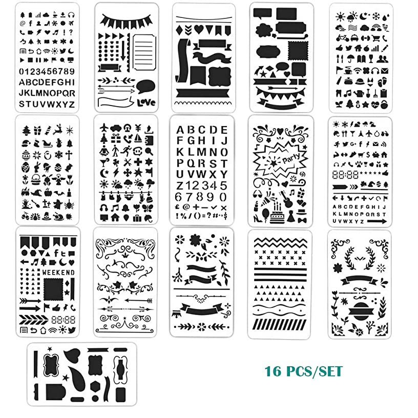 MX-Amigo 16PCs Letter and Number Stencils DIY Drawing Templates Journal Stencils with A Storage Bag for Notebook, Diary, Scrapbook