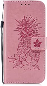 DENDICO Case Galaxy S10 Leather Cover Pineapple Embossed Wallet Flip Case with Card Holder for Samsung Galaxy S10 Full body Protective Shockproof Case Pink