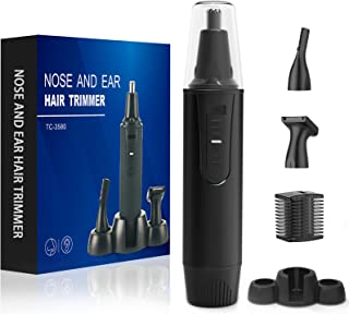 Nose and Ear Hair Trimmer-Professional Painless Nose Hair Trimmer Clipper for Men and Women,Battery-Operated Electric Nose Trimmer,Waterproof Dual Edge Blades for Easy Cleansing(Black)