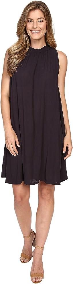 Sleeveless Mock Neck Swing Dress