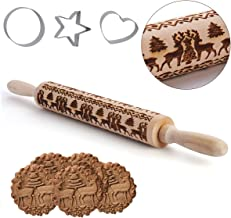 Christmas Wooden Rolling Pins Deeply Engraved Embossing Rolling Pin with Christmas Deer Symbols and 3 Pcs Cookie Cuttersfor Baking Christmas Theme Pastries & Cookies (43 x 5 cm)