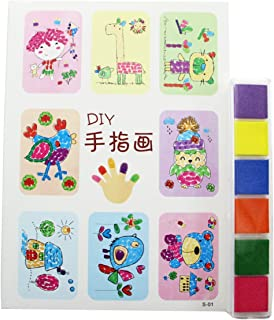 Newbested Colorful Washable Rainbow Finger Ink pads with Fingerprints drawing book For kids
