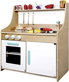 Kids Wooden Kitchen Play Set Children Pretend Toy Cooking Role Play Set Home Cookware 15pcs Set