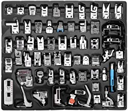 eoocvt 62pcs Domestic Sewing Machine Presser Feet Set for Brother, Babylock, Singer, Janome, Elna, Toyota, New Home, Simplicity, Necchi, Kenmore, and White Low Shank Sewing Machines