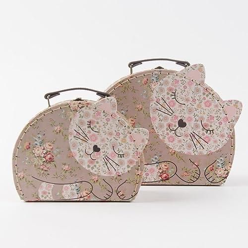 Sass Belle - Valise, Trolley - Set de 2 valisettes Chat fleurs