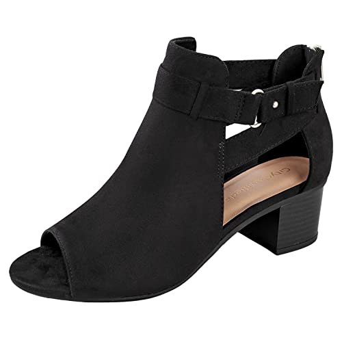 6ed45cae0 City Classified Invest Women s Cutout Side Strap Mid Block Chunky Heel  Fashion Ankle Bootie Boots