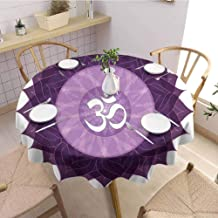DILITECK Chakra Polyester Round Tablecloth Circular Lace Like Point Form with Arabic Lettering The in Node Centre Meditation Image Table Decoration D63 Purple
