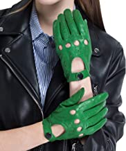 CHULRITA Women's Leather Driving Gloves Sheepskin Unlined Motorsports Retro Full Finger Motorcycle Cycling Gloves