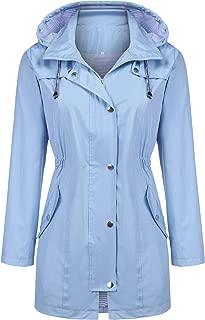 Rain Jacket Women Striped Lined Hooded Lightweight Raincoat Outdoor Waterproof Windbreaker