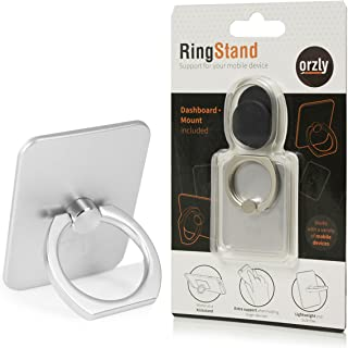 Orzly RingStand - Adjustable Multi-Angle Foldaway Stand for Smartphone (and Other Mobile Devices) - Full Pivot Multi Position Horizontal or Vertical Use as a DeskStand or Dashboard Mount - Silver