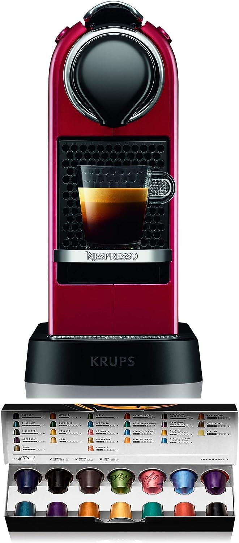 Krups Nespresso XN7415 Citiz cafetera de cápsulas monodosis, con 19 bares de presión, thermoblock, función automática con botones retroiluminados, color Rojo
