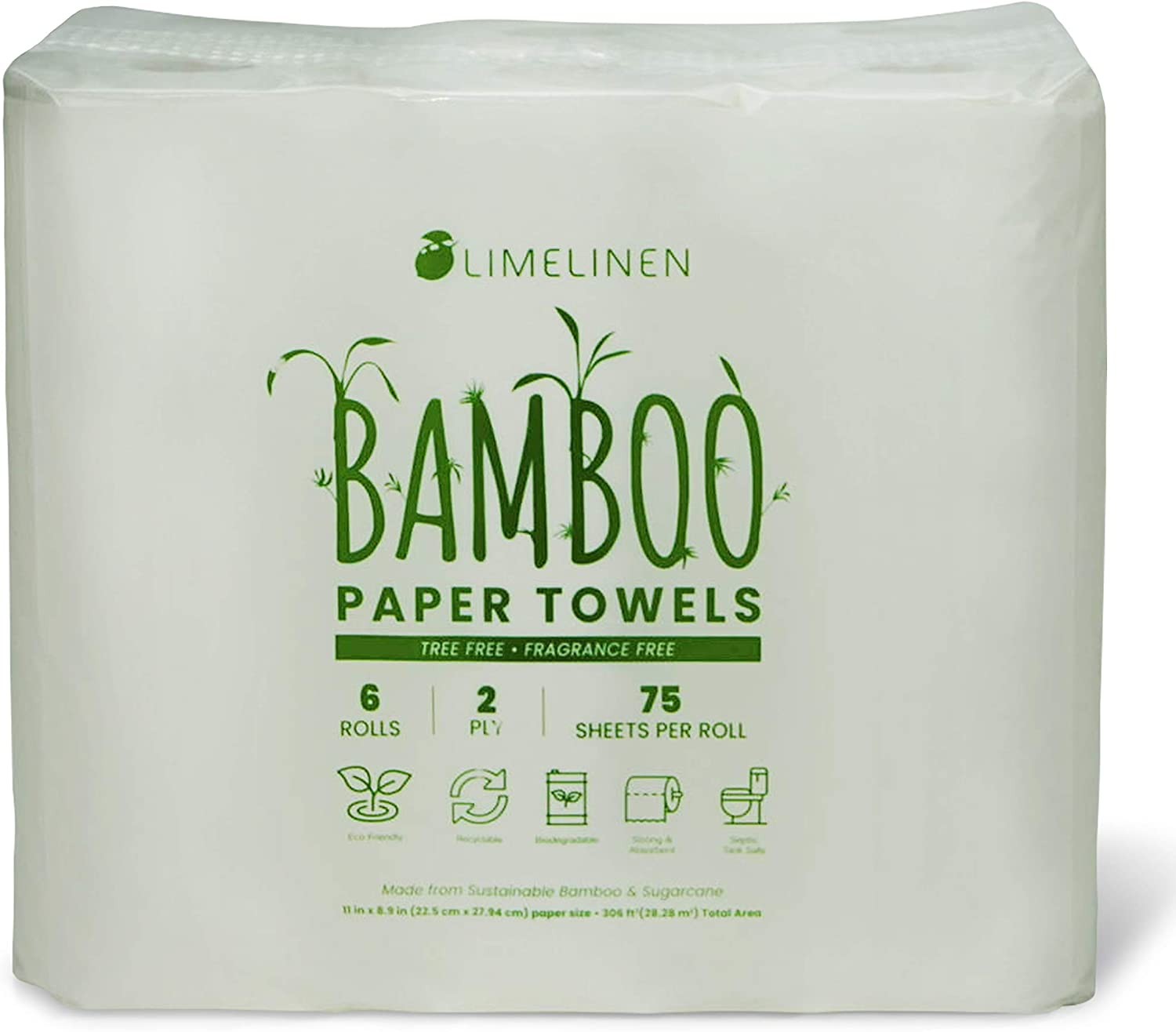 LIMELINEN Bamboo Tulsa Mall 6 Rolls Paper Eco Biodegradable Towels Friend Easy-to-use