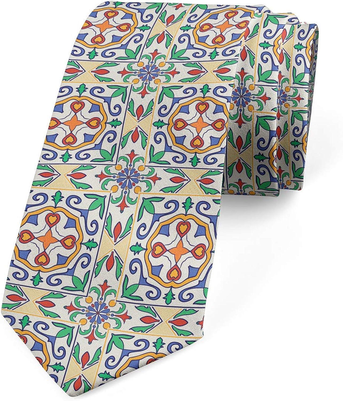 Ambesonne Men's Tie, Spanish Ornamental, Necktie, 3.7