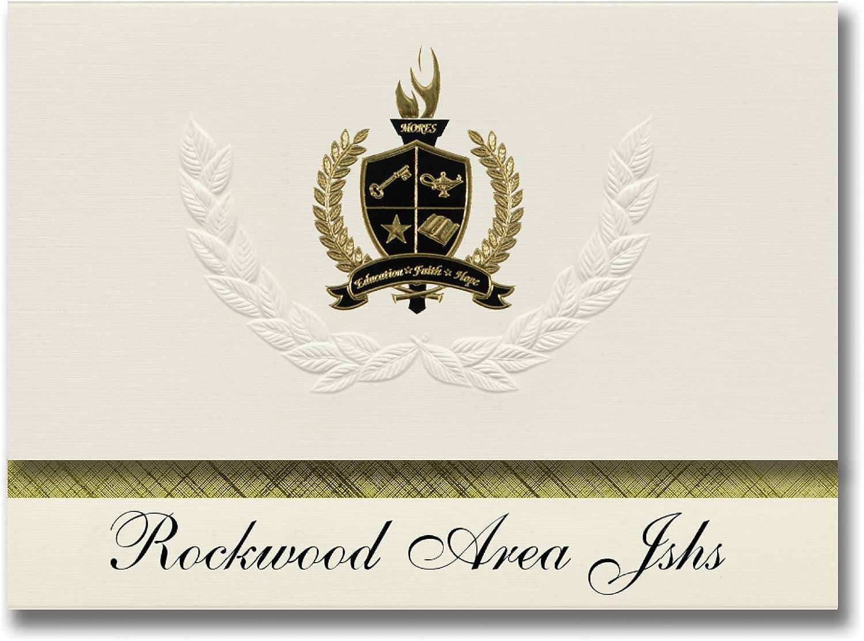 Signature Ankündigungen Rockwood (Bereich jshs (Rockwood (, PA) Graduation Ankündigungen, Presidential Stil, Elite Paket 25 Stück mit Gold & Schwarz Metallic Folie Dichtung B078VDPJ9P   | Reichlich Und Pünktliche Lieferung