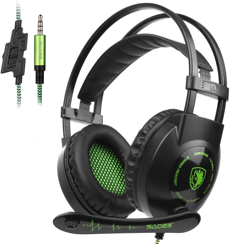 SADES SA801 Auriculares PS4 sonido envolvente de 3,5 mm estéreo Auriculares para juegos de PC Auriculares para juegos con micrófono para PC Xbox One Mac Tablets PS4 Laptop Phone (verde): Amazon.es: Electrónica