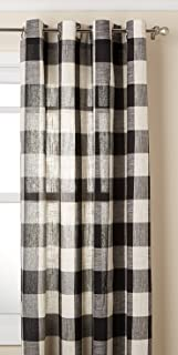 Lorraine Home Fashions 09570-63-00146 BLACK Courtyard Grommet Window Curtain Panel, Black, 53
