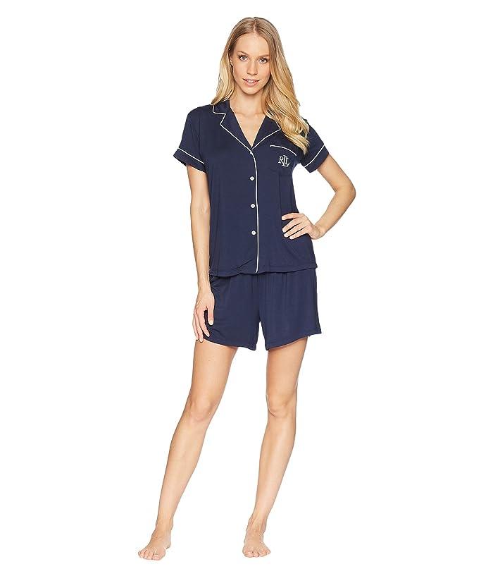 LAUREN Ralph Lauren Short Sleeve Notch Collar Boxer PJ Set (Navy 1) Women