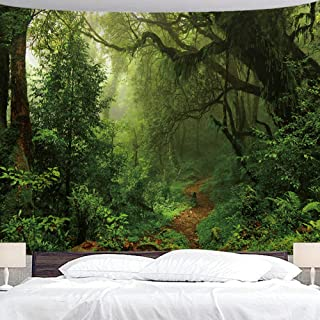 """BJYHIYH Green Forest Tapestry Tree Landscape Large Tapestries Misty Nature Tapestry Wall Decor for Bedroom Living Room Dorm(90.6""""�59.1"""")"""