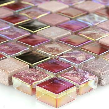 Glas Marmor Mosaik Fliese Rosa Mix 15x15x8mm