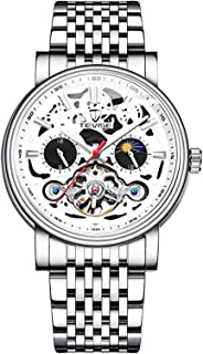 TEVISE Men Automatic Mechanical Watch Stainless Steel Strap Time & Moon Phase Display Luminous Design 3ATM Waterproof Male...