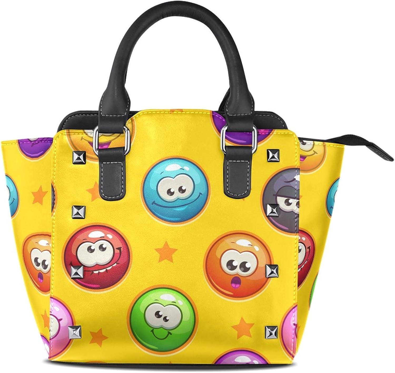 My Little Nest Women's Top Handle Satchel Handbag Funny Emoji Emotion Face Stars Ladies PU Leather Shoulder Bag Crossbody Bag