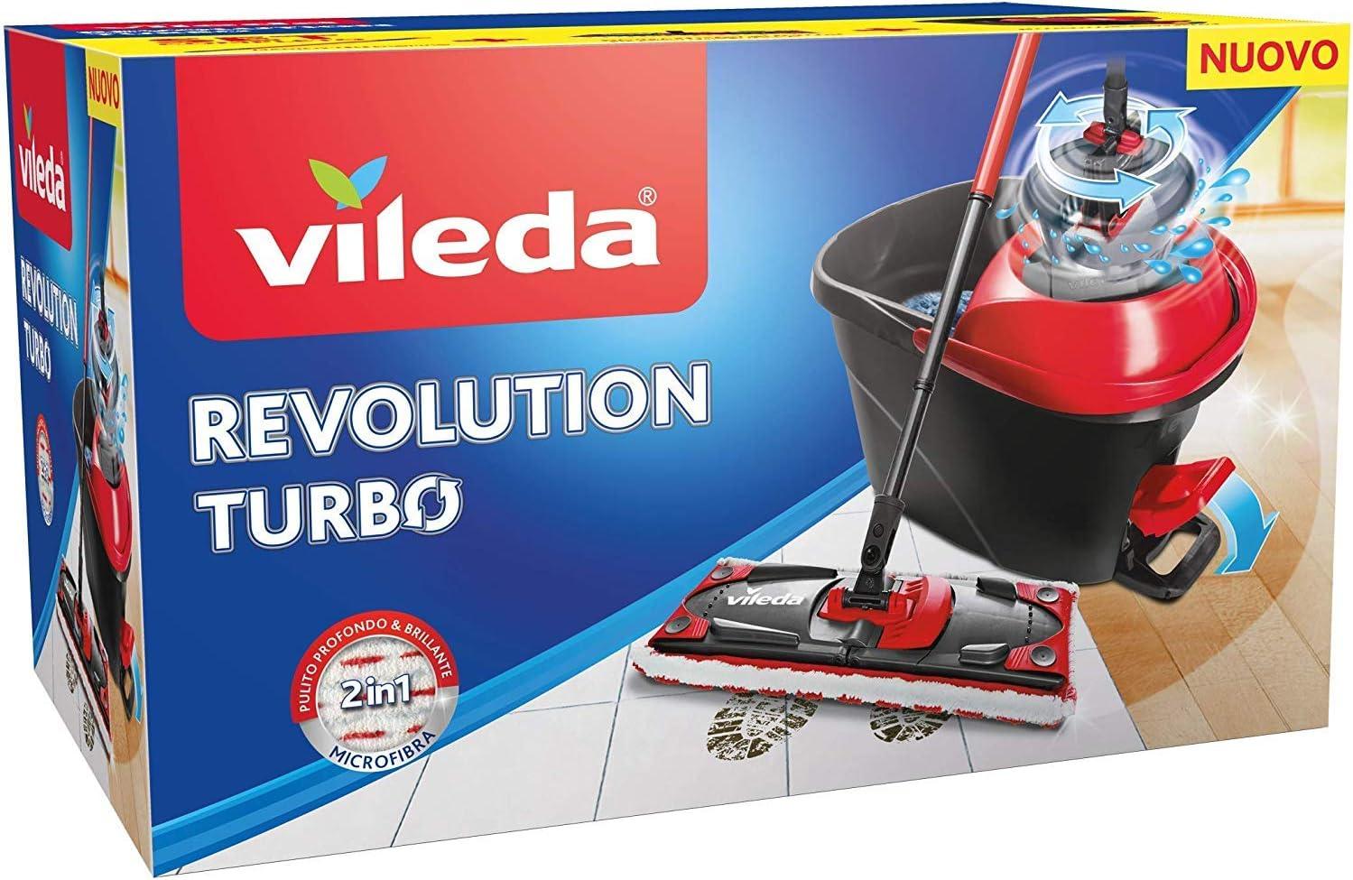 Vileda Revolution Turbo System mit Entsafter mit Pedal und Mikrofasertuch,  schwarz/rot