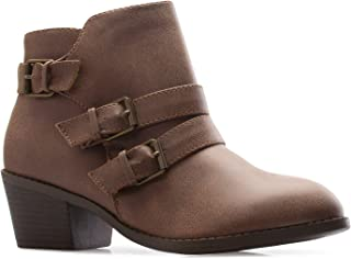 OLIVIA K Women's Western Buckle Stacked Low Heel Ankle Bootie Cut Out Style