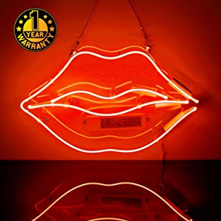 Neon Signs Lip Love, Neon Light Sign Led Neon Lamp, Wall Sign Art Decorative Signs Lights, Neon Words for Home Bedroom Room Decor Bar Beer Office for Party Holiday Wedding Decoration Sign