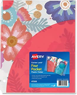 Avery Corner Lock 4-Pocket Plastic Folder, Big Floral, 1 Folder (47205)