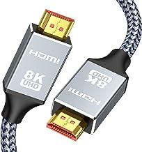8K 60HZ HDMI Cable 6.6FT/2M,Capshi Ultra HD 48Gbps High Speed HDMI Braided Cord-4K@120Hz 8K@60Hz, DTS:X, HDCP 2.2 & 2.3, H...