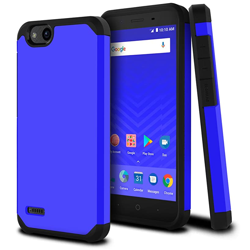 Celljoy Case compatible with ZTE Tempo X, ZTE N9137 [Liquid Armor] 2017 Slim Armor Dual Layer Protective [[Shockproof]] Hybrid BumperImpact Resistant Thin Hard Shell Cover (Matte Blue)