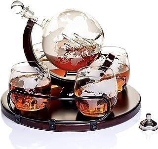 Whisky Karaffe Globus für Alkohol - Whiskey Decanter Bar Set mit Gläser Holzständer und Weltkarte - Geschenke für Männer und Frauen - Glas Flasche Zubehör für Gin, Rum, Scotch, Likör, Bourbon, Wodka