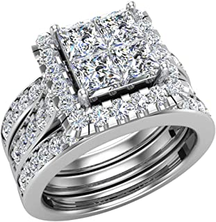 Princess Cut Quad Halo Double Band Wedding Ring Set 2.90 Carat Total Weight 14K Gold (J,I1)