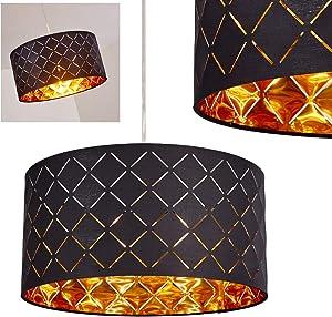 Lampada a sospensione meldal in tessuto nero oro–Rotonda camera da letto lampada per sala da pranzo–Soggiorno–Camera da letto