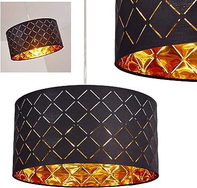 Pendelleuchte Meldal, moderne Hängelampe aus Metall/Stoff in Schwarz/Gold, Ø 40 cm, max. Höhe 140 cm, E27 max. 60 Watt, geeignet für LED Leuchtmittel