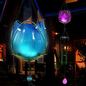 Solar Wind Chime Sympathy Gift - 2Pack Tulip Light Purple and Blue - Memorial Gifts for Loss of Loved One-Prime - Hanging Garden Decor for Outside - Home Yard Patio Mom Gift