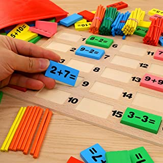 Wooden Domino Blocks Sticks Math Counting Game Educational Kids Children Toy