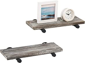 MyGift Wall Mounted Urban Rustic Torched Wood Floating Storage Display Shelves, Set of 2