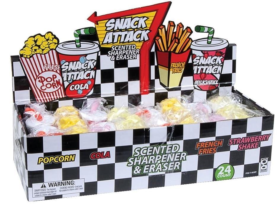 Raymond Geddes Snack Attack Scented Pencil Sharpener and Eraser, 24 Pack (68309)