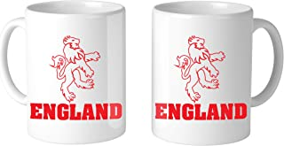 Amdesco England Lion Emblem 11 Oz White Coffee Mug (2 Mugs)