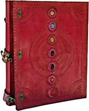 Seven Chakra Medieval Stone Embossed Handmade Leather Journal Book of Shadows Notebook Office Diary College Book Poetry Bo...