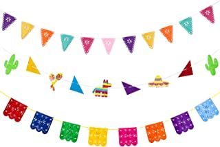Blulu 3 Pieces Picado Banners Cinco De Mayo Banners Fiesta Banner Colorful Picado Banner for Cinco De Mayo Mexicano Festival Fiesta Party Decorations (3 Pieces, Style A)