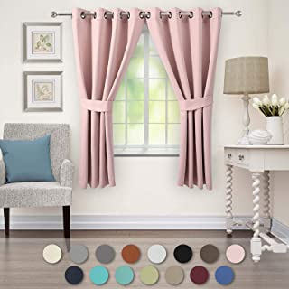 VEEYOO Black Out Curtains for Living Room Thermal Insulated Grommet Blackout Window Curtains 63 inch Length Set of 2 Pink Curtain Panels