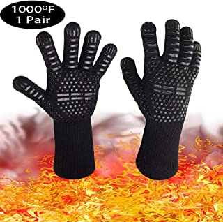 Professional BBQ Cooking,1000°F Extreme Heat Resistant Oven Gloves for Cooking, Grilling, Baking,Fireplace and Oven, Durability and Stretchy Aramid Anti-Slip Barbecue Pit Mitt,1 Pair (Black)