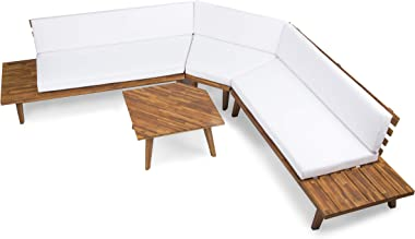 Christopher Knight Home Highpoint Outdoor V-Shaped Acacia Wood Sectional Sofa Set with Water Resistant Cushions, 4-Pcs Set, Sandblast Finish / White