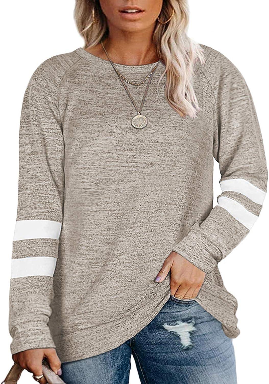 AURISSY Womens Plus Size Sweatshirts Long Sleeve Tunic Tops Oversized Shirts