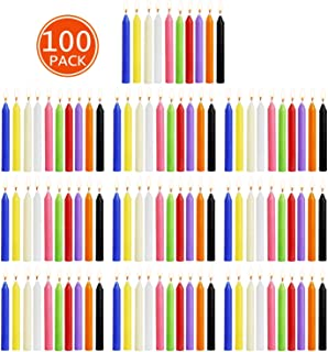 YCYH 100 pcs Unscented Assorted Colors Mini Taper Candle | 4