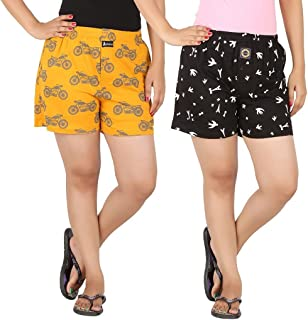 JOVEN Women's Yellow and Black Boxer Pack of 2